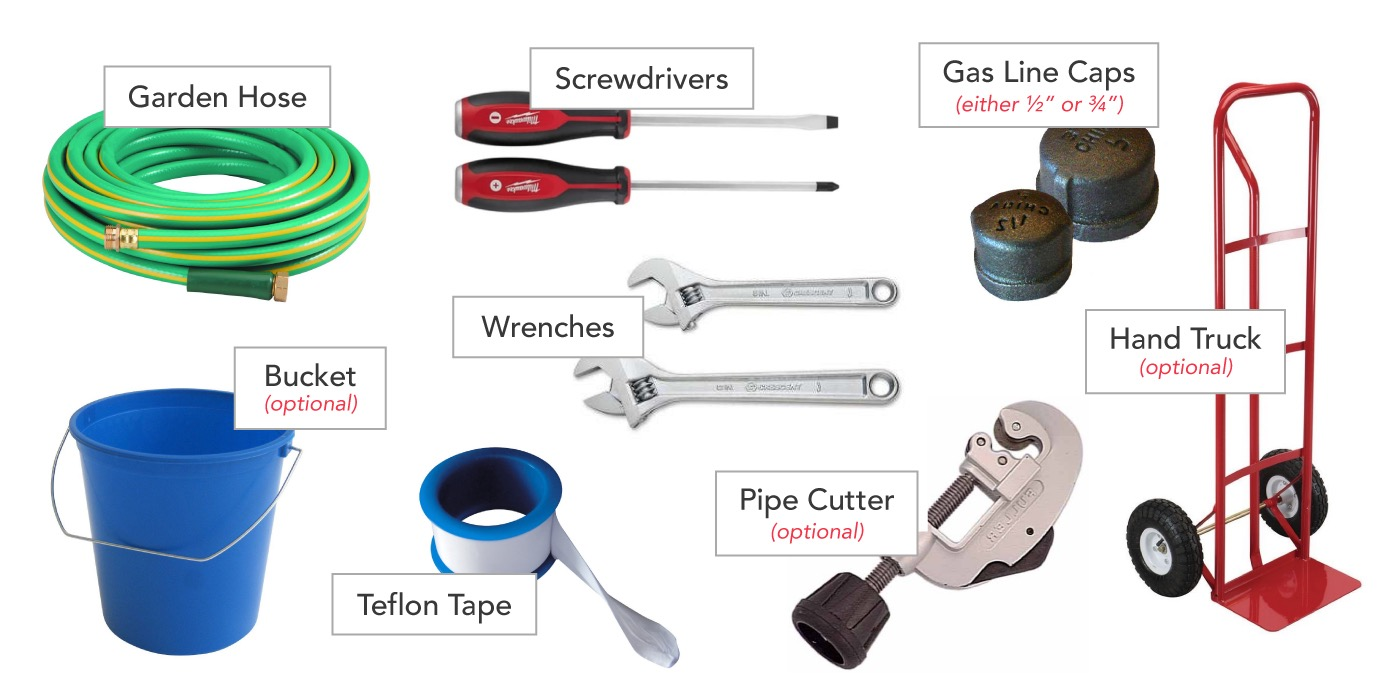 Water heater removal tools: Garden Hose, Screwdrivers, Wrenches, Gas Line Caps, Pipe Cutter, Bucket, Teflon Tape, Hand Truck