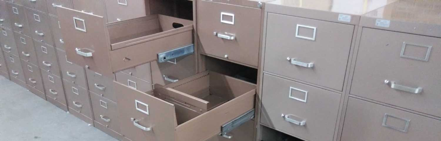 Old office filing cabinets ready for removal